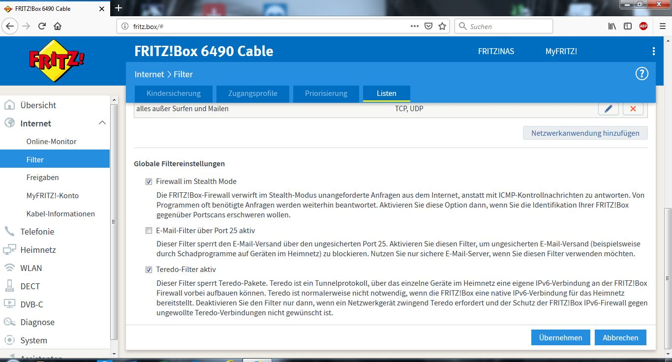 Fritzbox Internet Filter Umgehen
